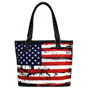 Montana West American Flag Canvas Tote Bag